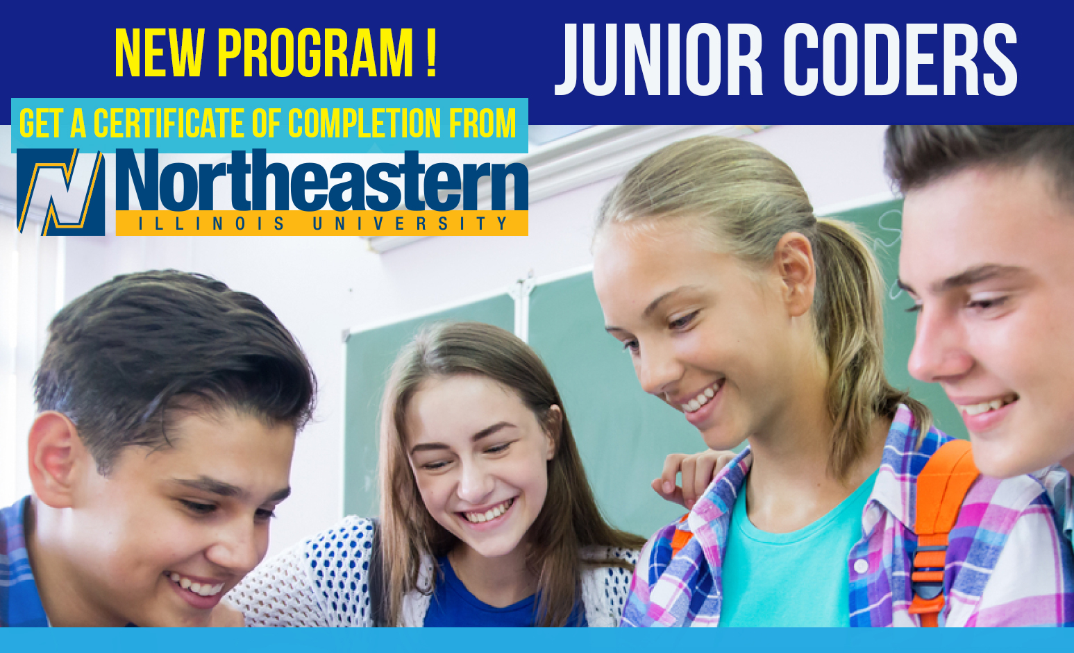 NEW! Junior Coders (Ages 12-18) - Earn a Certificate of Completion from Northeastern Illinois University